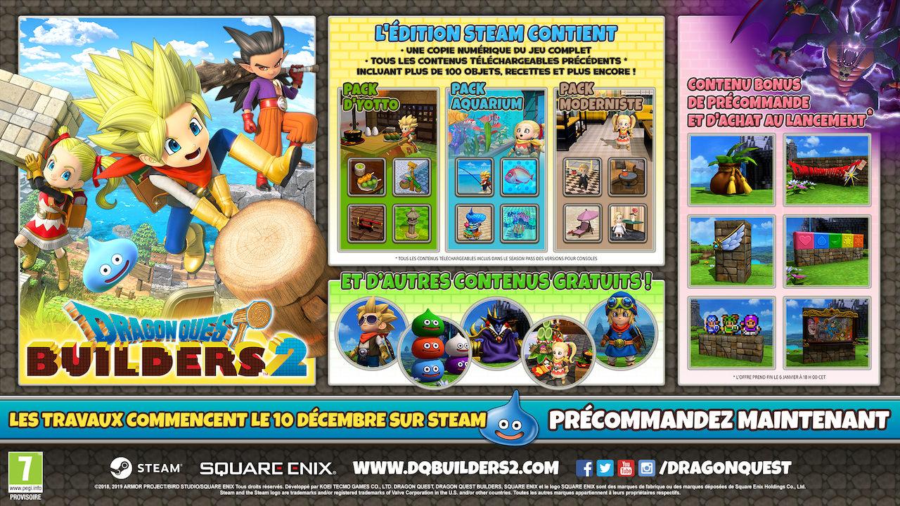 Dragon quest builders 2 s'annonce sur PC